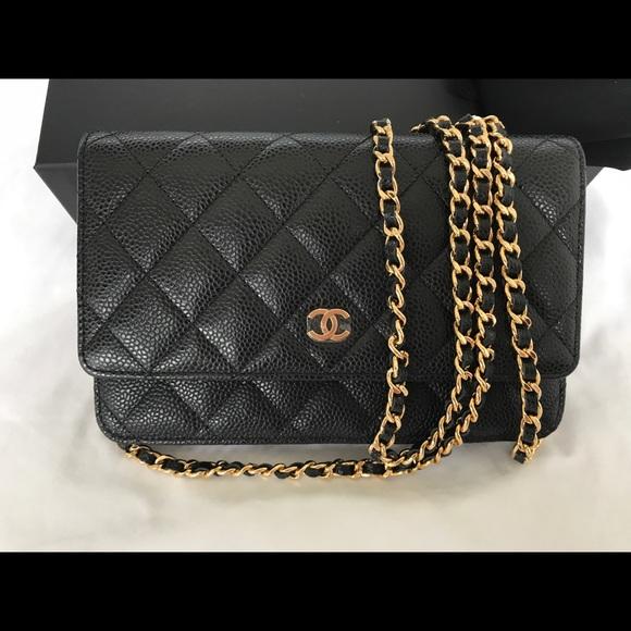7ecb5ee3edfe CHANEL Bags | 2018 Wallet On Chain Woc Black Caviar Gold Bag | Poshmark